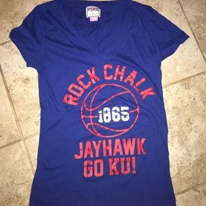 "PINK "" ROCK CHALK GO KU"" basketball v-neck"
